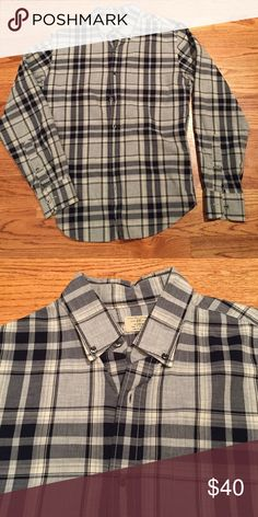 Long sleeve button down form J. Crew. Checkered gray and navy blue button down from J. Crew. J. Crew Shirts Casual Button Down Shirts