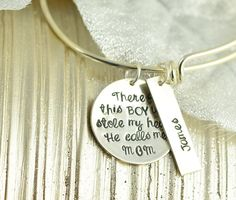 There's This Boy Who Stole My Heart He Calls Me Mom Bracelet, Alex Ani Style Bangle, Mothers Charm Bracelet, Baby Name Jewelry, Hand stamped