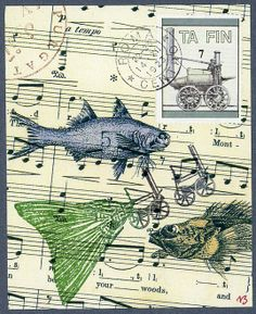 'Steamfish' Original Monocollage by Nick Bantock.