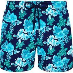 Herren Bademode - Turtles Flowers Bademode mit Stretch für Herren - Badeshorts - Moorise - Blau - M