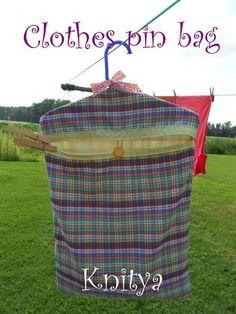 """Clothes pin Bag $15 at """"Knitya"""" on Facebook"""