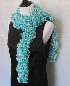 Hand knitted womens ruffle organza scarf with decorative edge in a chevron pattern of teal blue and white. Would make great Christmas gift. #handmade #etsymnt