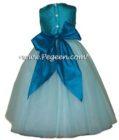Tiffany, jewel and Turquoise tulle silk ballerina style Flower Girl Dresses with tulle by Pegeen