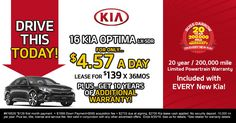 Right now you can Lease a 2016 Kia Optima for less than $5 a day at Russ Darrow Kia