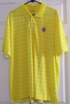 Adidas Pure Motion Men's Golf Shirt, XL, Yellow,White,Trump National Bedminster #Adidas
