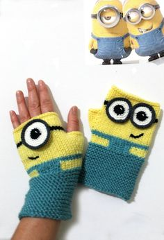 Minions Fingerless Gloves Winter Fashion Characters Movie | Etsy Crochet Gloves Pattern, Loom Knitting Patterns, Crochet Mittens, Crochet Blanket Patterns, Knitting Projects, Hand Knitting, Knitting Tutorials, Hat Patterns, Stitch Patterns