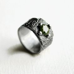 Gothic Wedding Band - Vines and Forest Silver Gothic Engagement Ring with Green Cubic Zirconia.