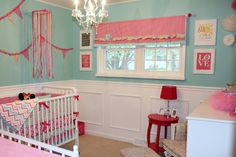 Project Nursery - Pink and Aqua Nursery switch lavender for pink. LOVE the chair rail and detail
