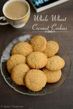 Whole Wheat Coconut Cookies - Whole Wheat Flour 1 cup(I used Nature's Fresh Whole Wheat Atta) Sugar 1/2 cup* Unsweetened Dessicated Coconut 1/4 cup+2 tbsp for garnish Butter, softened 1/2 cup Salt a pinch Vanilla Extract 1/2 tsp Milk 2 tbsp or as nedded