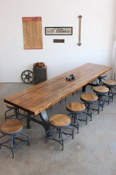Custom Vintage Industrial Antique 10u0027 Conference/ Dining Table W/ Cast Iron  Legs