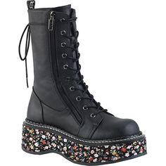 Inked Boutique - EMILY-350 Platform Boot Black #floral #punk #pastelgoth #InkedBoutique Find it at InkedBoutique.com.