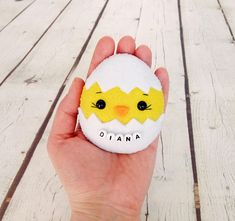 Easter Eggs Personalized Easter Chick Baby Shower Favor Felt Chicken Lover Easter Gifts For Babies Easter Home Decor Farm Party Decorations Egg Crafts, Easter Crafts, Farm Party Decorations, Easter Gifts For Kids, Easter Egg Designs, Painted Rocks Kids, Diy Ostern, Rock Crafts, Egg Decorating