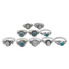 Beautiful Lot Of 10Pc Silverplated Multi Gemstone Rings Fashion Jewelry-Esrl131