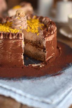 Nougat Marzipan Mousse Torte - Chocolate Marzipan Cake