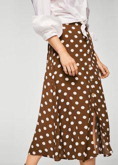 Polka-fläckig kjol - Damer   MANGO Sverige