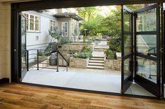 Accordion Doors Patio Traditional with Accordion Door Glass Door Landscaping Multi Level