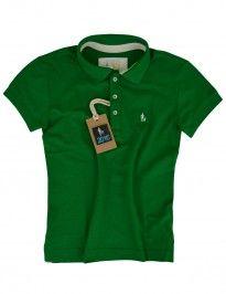 Camisa Polo Feminina Verde Bandeira