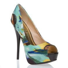 Bold peacock feather-printed satin and faux-patent leather peep-toe platform pump stiletto