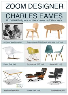 "The couple and a few of their pieces. In the words of Charles Eames ""Details are not just details. They are what make up the design. Classic Furniture, Mid Century Modern Furniture, Furniture Styles, Furniture Design, Eames Furniture, Charles Eames, Casa Clean, Deco Design, Mid Century Design"