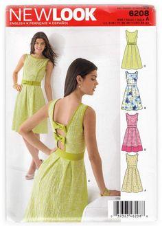 Cute Open-back Dresses Sewing Pattern New Look 6208 Miss 8-18 – SewJewel