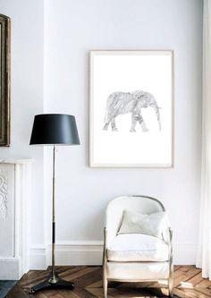 Marble Elephant Poster / Elephant Printable / 50x70 by AYAKAstudio