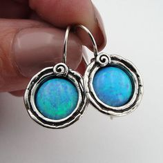 Opal 925 sterling silver Earrings, Blue Stone Earrings, Round Earrings, Gift in Jewelry & Watches, Handcrafted, Artisan Jewelry, Earrings | eBay