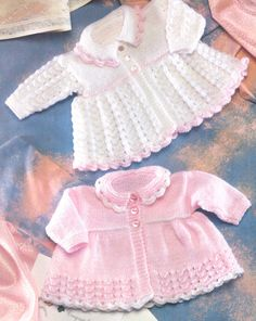 "1 of 1: Vintage  Baby Matinee Coat Lace Pattern 12"" - 20"" DK Knitting Pattern Knitted Baby Clothes, Knitted Baby Cardigan, Double Knitting, Knitting Wool, Vintage Knitting, Baby Knitting, Free Knitting, Crochet Bebe, Lace Knitting Patterns"