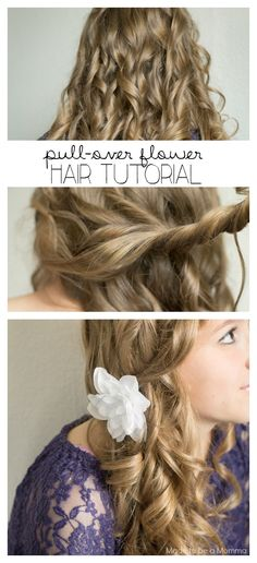 Pull Over Flower Hair Style via @madetobeamomma. Lovely holiday locks with curl by the mile. Easy holiday hairstyle tutorial. #HeartMyHair #ad