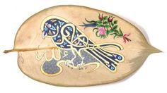 Yaprakların Üzerinde Hat Sanatı...  #Hat Sanatı #Hat Art Islamic Art Calligraphy, Caligraphy, Arabic Art, Turkish Art, Bookbinding, Fabric Design, Quilt Patterns, Decoupage, Arts And Crafts