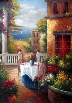 Lakeside Table for Two - Original Oil Painting Artist: Unknown  Size: 48 High x 36 Wide Canvas  Hand-painted, original oil painting on unstretched canvas.