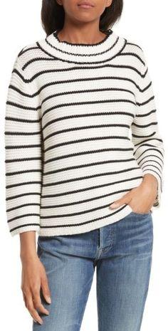 Women's La Vie Rebecca Taylor Stripe Cotton & Wool Pullover #stripes #love #afflink