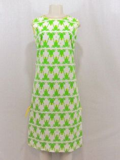 Vintage-THE-VESTED-GENTRESS-Green-Yellow-FROG-PRINT-Long-SHIFT-DRESS-Size-6