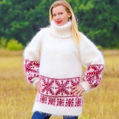 White Red Hand Knitted Mohair Sweater Icelandic Fuzzy Jumper SUPERTANYA S M L #SuperTanya #TurtleneckMock