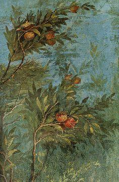 Roman #Fresco, Villa di Livia, Roma, parete corta meridionale, melograno…