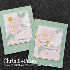 cards created by Chris Lothian using CTMH Gimme Some Sugar papers Hand Stamped Cards, Beautiful Handmade Cards, Heart Cards, Pretty Cards, Close To My Heart, Scrapbook Paper Crafts, Paper Decorations, Flower Cards, Homemade Cards
