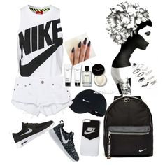 A fashion look from June 2016 featuring NIKE tops, One Teaspoon shorts and NIKE sneakers. Browse and shop related looks.