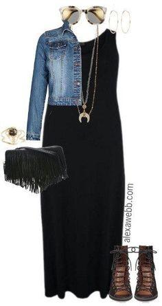 b810f313094ed Plus Size Black Maxi Dress Outfit - Plus Size Spring Outfit - Plus Size  Fashion for