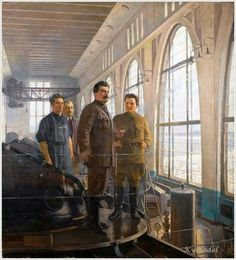 Alexander Nikolaevich Samokhvalov, Stalin and Kirov at Volkhovstroi 170 x 150 cm. x 59 in. Soviet Art, Soviet Union, Communist Propaganda, Joseph Stalin, Russian Revolution, Socialist Realism, Red Army, Russian Art, Socialism