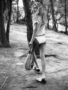Doutzen Kroes, white bikini, crop top, white sandals, Vogue UK 2013