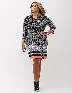 Classic, meet modern (e.g., this shirtdress in a right-now geo print). Matching self-tie belt. lanebryant.com