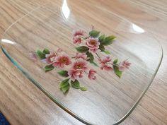 Vintage Chance Glass Rectangular Dish Pink Blossom Pattern   Etsy