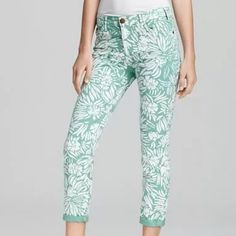 DVF ❤️ Current/Elliott Skinny Jeans Mint & Floral Add a pop of color to your wardrobe with these super super cute skinny jeans by DVF ❤️ Current/Elliott. Mint green accented with an all over white floral pattern is nothing less than awesome! These are 98% cotton and 2% spandex so you have a little bit of a stretch. LOVE!!l DVF ❤️ Current/Elliott Pants