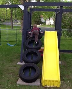 Swing set tire ladder.