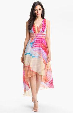 Donna Morgan High/Low Print Chiffon Dress