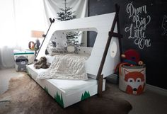DIY Toddler Bed in Shape of a Tent – Kids TeePee Trundle Bed The Great Inspiration for Your Kids Bedroom Themes Bedroom Furniture High Re. Teepee Bed, Kids Bed Tent, Diy Teepee Tent, Canopy Tent, Diy Bett, Toddler Rooms, Kids Rooms, Toddler Teepee, Toddler Beds For Boys
