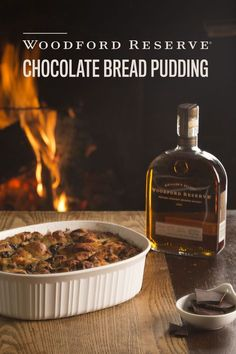 Our famous Woodford Reserve chocolate bread pudding made with French bread, and topped with our signature bourbon butter sauce. 1 quart whole milk, 12 cups stale French bread, diced in 1-inch cubes, 3 eggs, 1 3/4 cups sugar, 1 tablespoon vanilla, 1 teaspoon cinnamon, 6 ounces dark or bittersweet chocolate, 3 tablespoons unsalted butter, melted