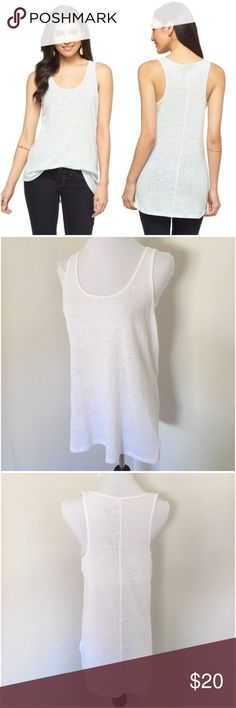 """White Linen Slub Drapey Tank Top Tunic M Drapey relaxed fit linen blend tank top. Size medium. White. Worn once. The airy, lightweight linen blend makes it comfy on hot days, and also ideal for layering on cooler days. Worn-in vintage slub feel. The hem is slightly longer in the back. Measures approx 19"""" from underarm to underarm, unstretched, lying flat, and approx 29"""" long from top shoulder to bottom hem. Smoke-free home. No trades. OFFERS WELCOME! 💕 Mossimo Supply Co Tops Tank Tops"""