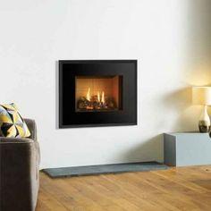 Gazco Riva2 500 Evoke Glass Gas Fire Balanced Flue Black Reed Lining