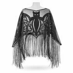 Bats Fringed Poncho - Women's Romantic & Fantasy Inspired Fashions Dark Fashion, Gothic Fashion, Style Fashion, Elegance Fashion, Witch Fashion, Looks Style, My Style, Country Style, Unique Clothes For Women