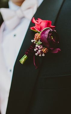 Groom & Groomsmen: Bold red boutonniere (Photo by Hom Photography via Inspired By This)